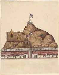 The Rock at Trichinopoly, a Union Jack flying beside the temple at the summit